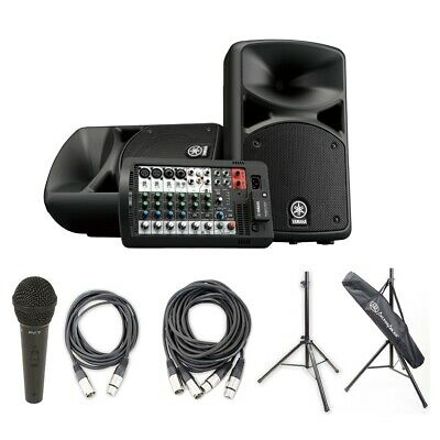 Yamaha STAGEPAS 400I 400W PA Sys W/ Peavey Mic & XLR Cable PK,Cables & Stands • 589.05£