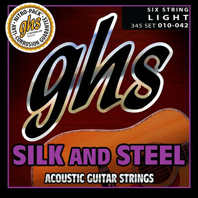 NEW GHS Strings 345 Silk And Steel Light Acoustic Guitar Strings (10-42) • 8.65£