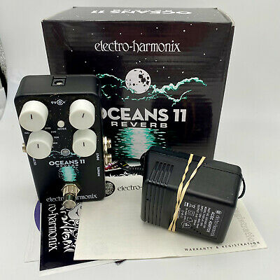 EXC Electro-Harmonix Oceans 11 Reverb Pedal W/ 9v Adapter Effect Guitar Bass EHX • 99.70£