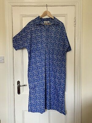 Lily Ella Boxy Blue Short-sleeved Shirt Dress With Floral Pattern. 100% Cotton. • 20£