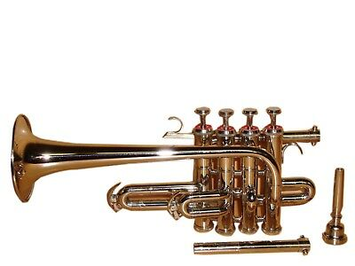 Bb/A FLAT PICCOLO TRUMPET Brand NEW NICKEL FREE CASE+7C MOUTHPIECE