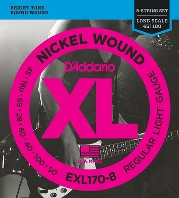 D'Addario 8-String Nickel Wound Bass Guitar Strings, Light, 32-130, Long Scale • 24.68£