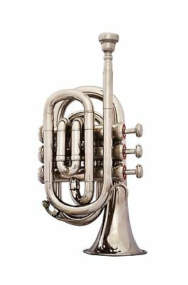 BRAND NEW SILVER  Bb POCKET TRUMPET+WITH FREE HARD CASE+MOUTHPIECE HOT SALE!