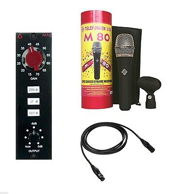 New Avedis Audio MA-5 Mic Preamp + Telefunken M80 Microphone + Mogami Cable 10' • 880.54£