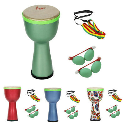 8'' African Drum Djembe+Egg Shakers+Drum Strap Handheld Percussion Instrument • 33.27£