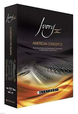 New Synthogy Ivory II American Concert D Pianos Mac PC AU VST RTAS EDelivery • 152.08£
