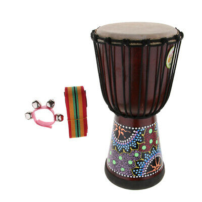 African Djembe Hand Drum With Strap Belt Hand Bell Musical Percussion • 42.25£