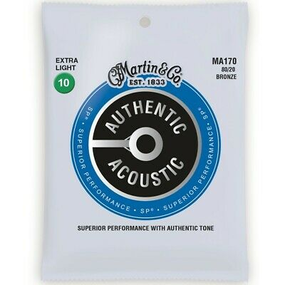 Martin MA170 Authentic Acoustic SP 80/20 Bronze Guitar Strings, Extra Light