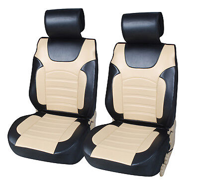 Non-Slip PU Leather 2 Car Seat Cushion Covers To Truck SUV Bk/Tan • 32.41£