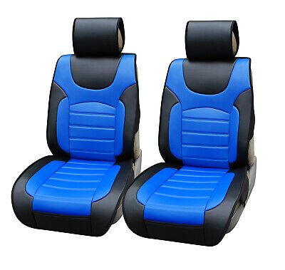 Non-Slip Car Seat Covers 2 PU Leather Cushion For Truck SUV Van Black/Blue • 32.37£