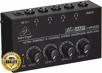 Behringer HA400 Microamp 4 Channel Stereo Headphone Amplifier, Black • 20.94£