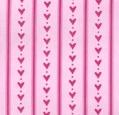 Cotton Fabric Hearts And Stripes On Pink 100% Cotton Fabric By Ella Blue - FQ • 3.99£