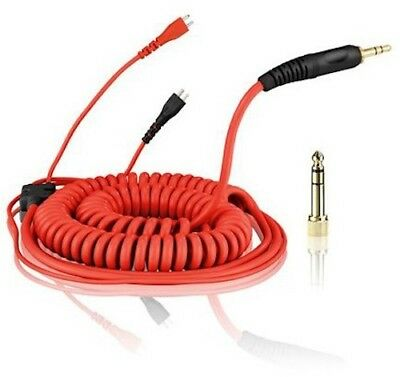 Replacement Coiled DeLuxe Cable For Sennheiser HD25 - HD-25 Headphones - Red • 34.99£