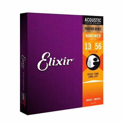 Elixir Nanoweb E16102 Phosphor Bronze Acoustic Guitar Strings 13-56 Medium • 18.99£