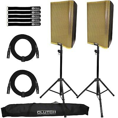 QSC K12.2 12  Active Powered DJ PA Speakers Pair W Gold Grills & Stands Pack • 1,157.73£