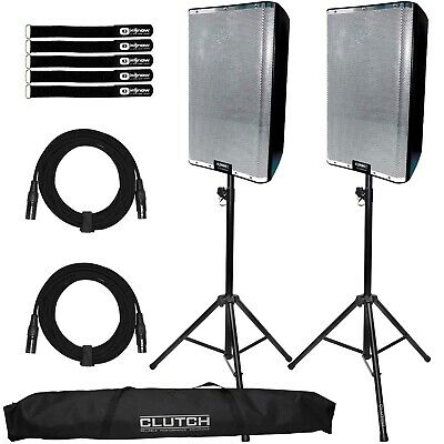 QSC K12.2 12  Active Powered DJ PA Speakers Pair W Silver Grills & Stands Pack • 1,225.94£
