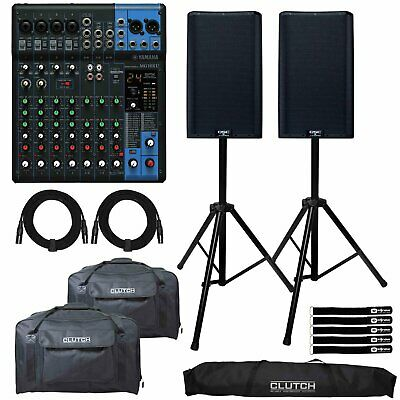 QSC K12.2 12  2-Way 2000W Powered DJ PA Speakers W MG10XU 10 Chan Mixer & Totes • 1,444.57£