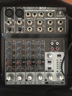 Behringer Xenyx 802 8 Input 2 Bus Mixer - With British EQ With Power Supply /box • 39£