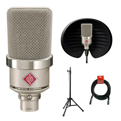 Neumann TLM-102 Condenser Microphone, Nickel W/ Aston Halo Filter, Stand & Cable • 773.39£
