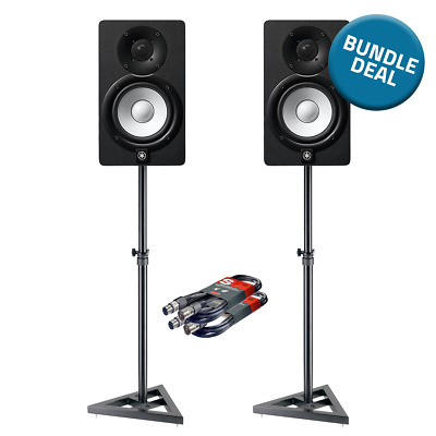 2x Yamaha HS8 Studio Monitor Speakers With Stands & Cables For Music Production • 549£