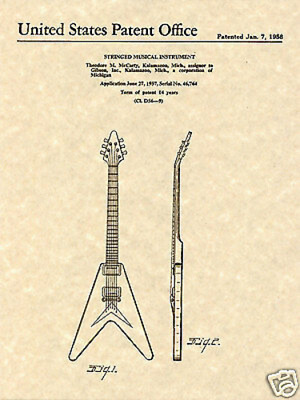 GIBSON FLYING V PATENT Art Print guitar Ted McCarty 1958 READY TO FRAME