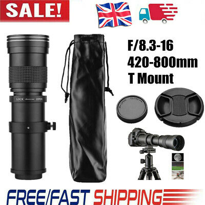 Camera MF Super Telephoto Zoom Lens F/8.3-16 420-800mm T Mount For Canon F6J3 • 47.33£