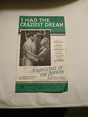 13338) 1942  sheet music I Had the Craziest Dream Springtime in the Rockies
