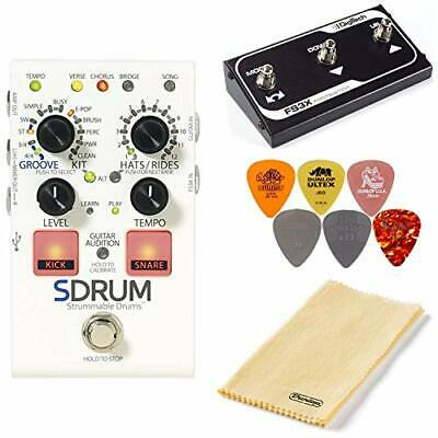 Digitech SDRUM Strummable Drums Pedal Bundle With FS3X Footswitch, Polishing Clo • 181.98£