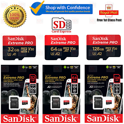 SanDisk Micro SD Extreme Pro 32GB 64GB 128GB Class 10 Memory Card + Free Adapter • 1.99£
