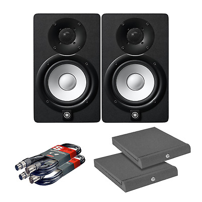 2x Yamaha HS7 Studio Monitor Speakers with Iso Pads & Cables - Production & DJ