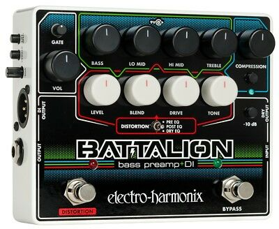 EHX Battalion Bass Preamp, Distortion And DI Pedal • 125£