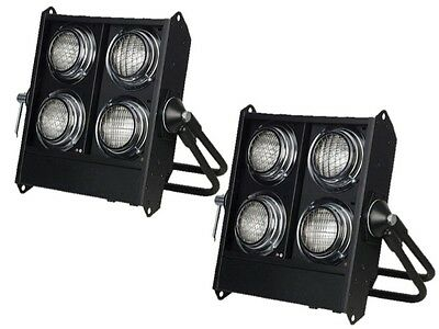 2 X Showtec Stage Blinder 4 DMX 650W Crowd Lighting Effect Package • 399£