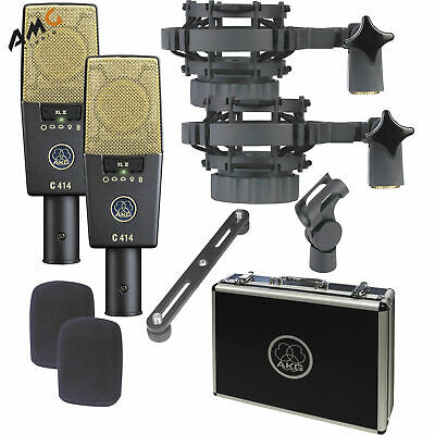AKG C414 XLII ST Multi Pattern Large Diaphragm Condenser Microphone Stereo Set • 1,678.94£