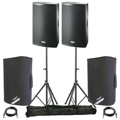 2x FBT X-LITE 10A 10  2000W Powered Active PA Speaker DJ Disco + Covers + Stands • 734£