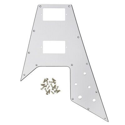 New Gibson Flying V Style Guitar Pickguard Scratch Plate White 3Ply with Screws