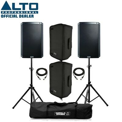 Alto TS315 Active 15  DJ Disco PA Speaker (Pair) With Covers, Stands & Cables • 629£