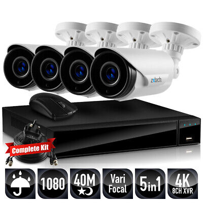 Zxtech 4 X 40M Night Vision Optical Zoom P2P 2 MP Cam Fusion DVR DIY CCTV System • 290.07£