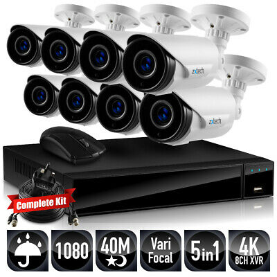 Zxtech 40 M Infrared Varifocal Zoom Focus Analog Cam Fusion DVR Home CCTV System • 788.34£