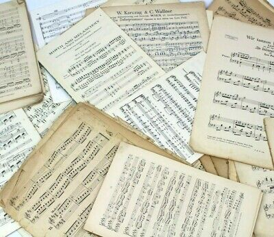 ~~125g OF VINTAGE MUSIC SHEETS - CRAFTS, ART,  DECOUPAGE, CHRISTMAS CARD MAKING