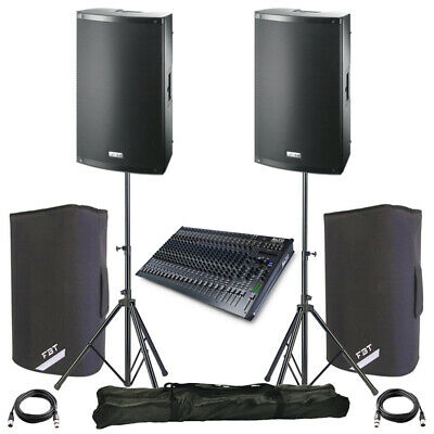 2x FBT X-LITE 10A 10  2000W Powered PA Speaker +Covers +Stands + Alto Live 2404 • 1,223£
