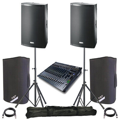 2x FBT X-LITE 10A 10  2000W Powered PA Speaker +Covers +Stands + Alto Live 1604 • 1,093£