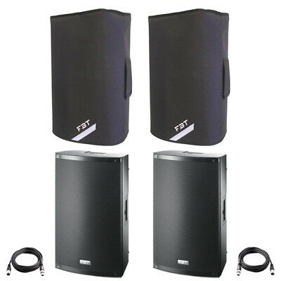 2x FBT X-LITE 10A 10  2000W Powered Active PA Speaker Or Monitor +Leads +Covers • 734£