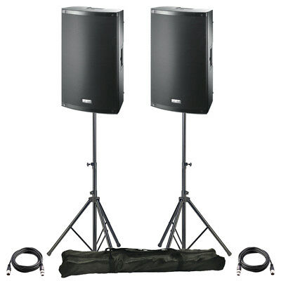 2x FBT X-LITE 10A 10  2000W Powered Active PA Speaker Stage Disco Band + Stands • 694£