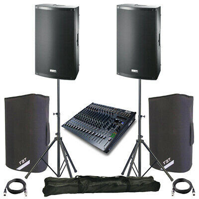 2x FBT X-LITE 10A 10  2000W Powered PA Speaker +Covers +Stands + Alto Live 1604 • 1,103£