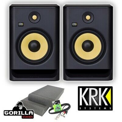 KRK Rokit RP8 G4 Active DJ Studio Monitor Speakers with Isolation Pads & Cable