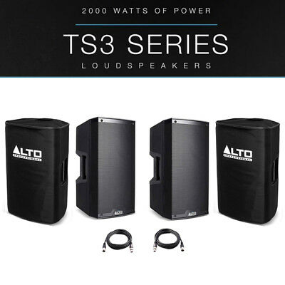 2x Alto TS315 15  4000W Powered Active PA Speaker Disco DJ Band + Covers + Leads • 706£