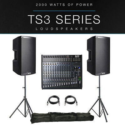 2x Alto TS315 4000W Active PA Speaker Package + Leads + Stands + Live 1604 Mixer • 1,017£