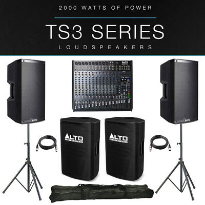 2x Alto TS315 4000W Active PA Speaker Package +Covers +Stands + Live 1604 Mixer • 1,065£