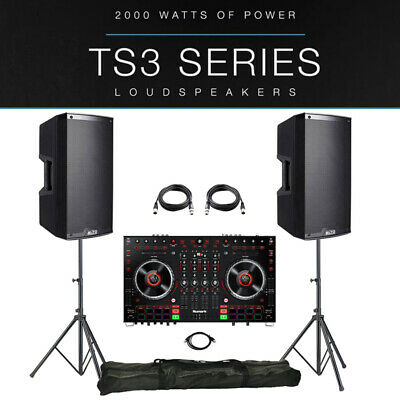 2x Alto TS315 Active PA Speaker Package +Stands +Leads +Numark NS6II Controller • 1,357£