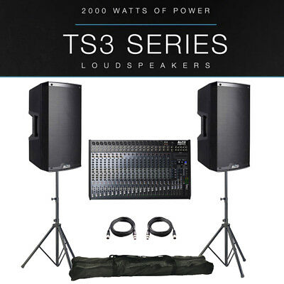 2x Alto TS315 4000W Active PA Speaker Package + Leads + Stands + Live 2404 Mixer • 1,147£